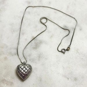 Vintage 925 Sterling Silver Puffy Heart Necklace